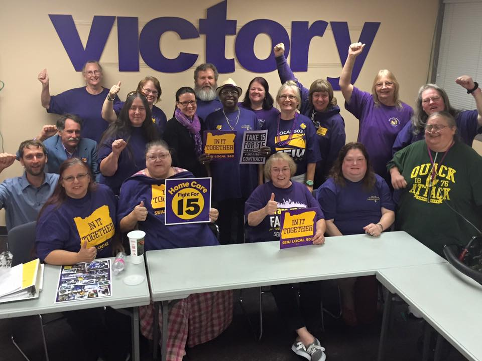 The homecare and personal support workers bargaining team celebrating a hardwon victory.