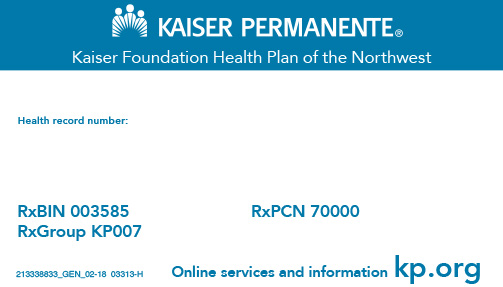 Kaiser Permanente medical and dental insurance card