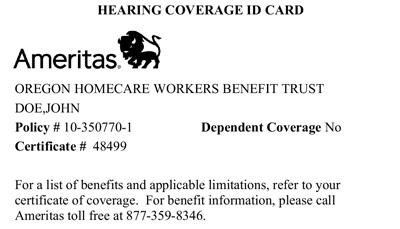 Ameritas 청각 보험 카드